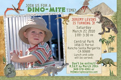 Dinosaur Birthday Party Invitations - Prehistoric Fun! – Join us for a DINO-MITE time! Dinosaur birthday party invitations with your child's photo. These invites make a great keepsake and for prehistoric birthday parties. #birthday-party-invitations