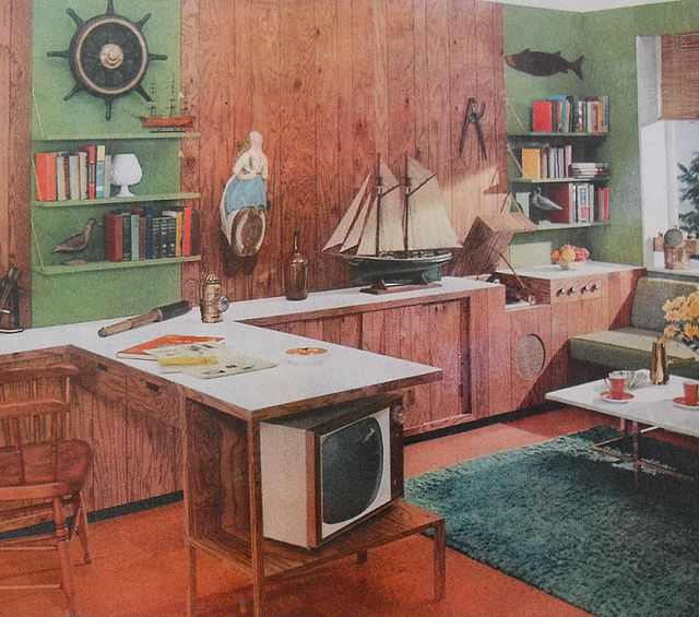 30 Incredible Home Office Den Design Ideas: 1950s Den Office Nautical Vintage Interior Design Photo