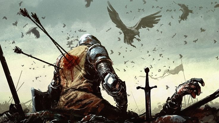 death, battle, knights, fantasy, art, ravens