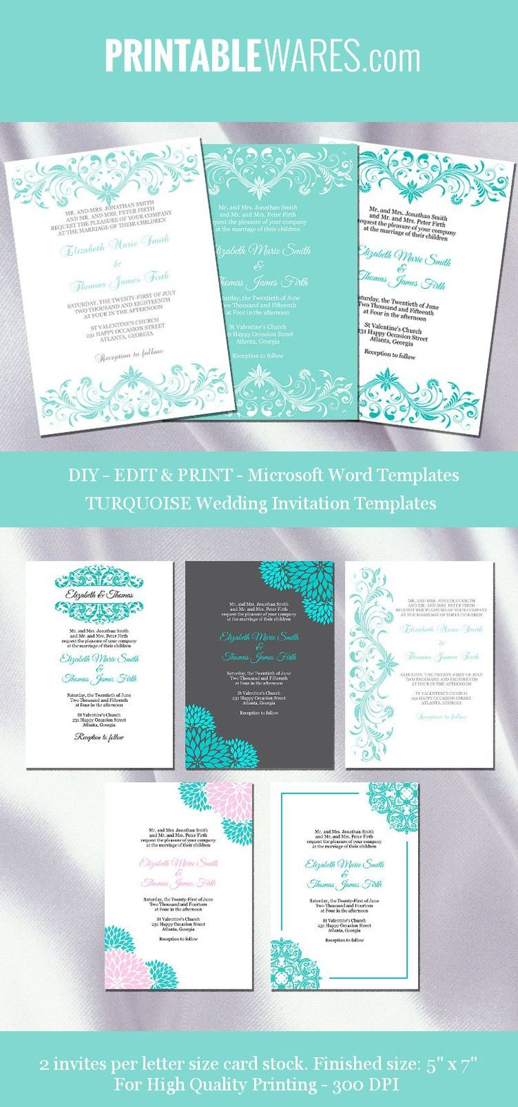 turquoise wedding invitation templates #weddinginvitation