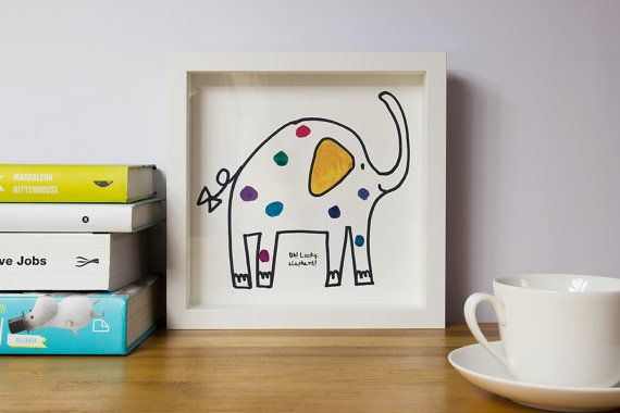 Elephant funny Framed nursery art Nursery pictures by illustation