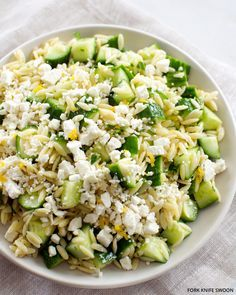 Lemony orzo pasta salad. 1-1/2 cups dry orzo pasta 2 tbsp olive oil, or just enough to lightly coat the pasta juice and zest of 1 lemon 1 large English cucumber, seeded and chopped 1tbsp fresh mint, finely chopped 1 tbsp fresh parsley, finely chopped 1/2 cup feta cheese, crumbled kosher salt and freshly-ground black pepper, to taste