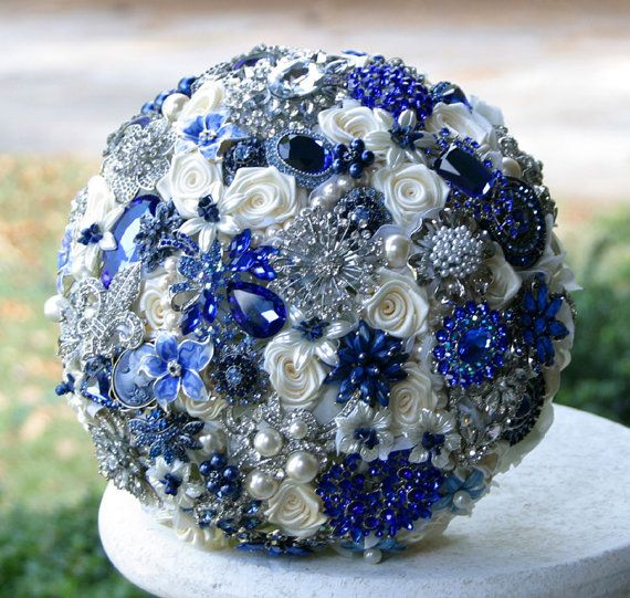 Royal Blue Wedding Brooch Bouquet. Deposit on made to order Sapphire Blue Heirloom Broach Bouquet