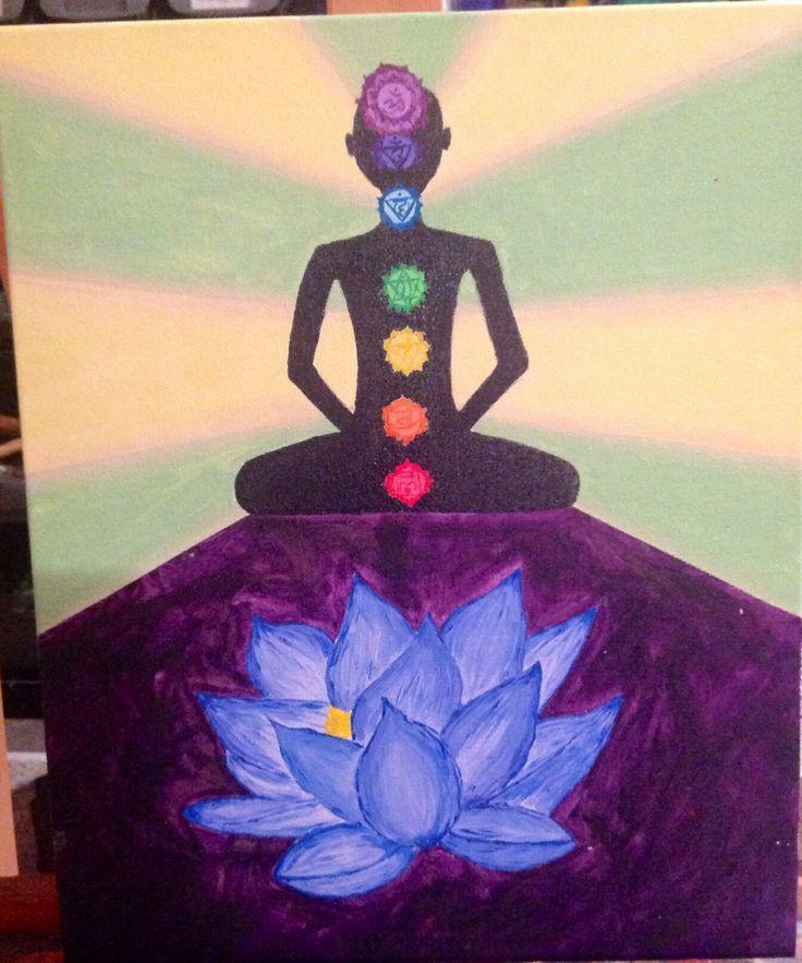 Chakra painting w/ lotus. Acrylic on canvas