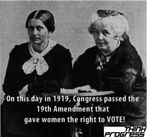 On this day in 1919, Congress passed the 19th Amendment that gave women the right to VOTE! Pictured are women's vote advocates Susan B Anthony and Elizabeth Cady Stanton.