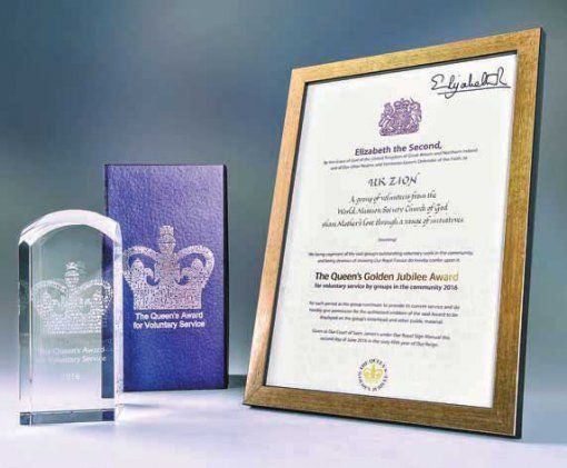 Queen of England awards WMSCOG. The Church of God UK Zion receives the Queen's Golden Jubilee Award certificate and plaque on July 4, 2016.