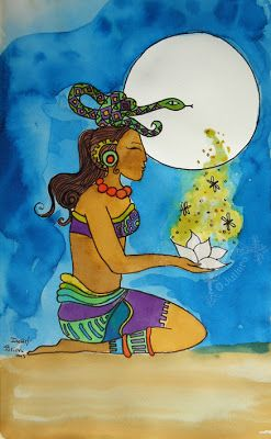 "Ixchel: Great Maya Goddess- ""Lady Rainbow"" goddess, an old woman with crossed bones, holding a serpent."