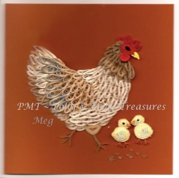 Quilled card: Hen with her chickens.