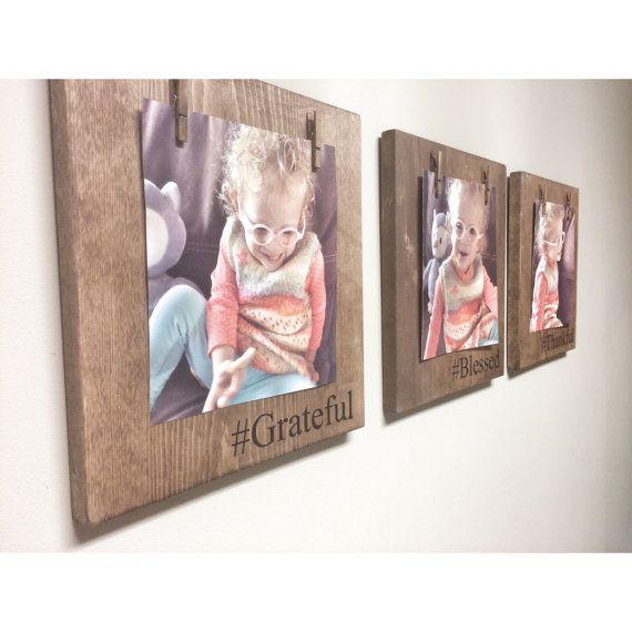 Three Rustic Wooden Picture Frames, Rustic Frame, Clothespin Picture Frame, Wooden Frame, Rustic Home Decor, Wedding Frame, Farmhouse Decor