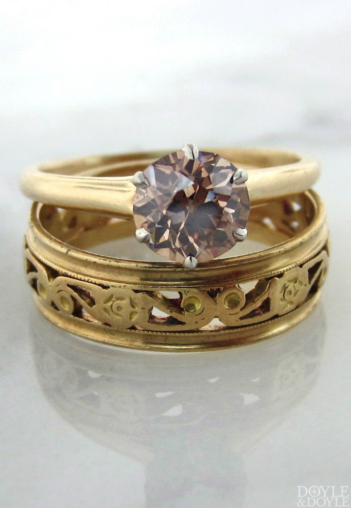 Simple Love a wide wedding band paired with a simple solitaire engagement ring Both from Doyle
