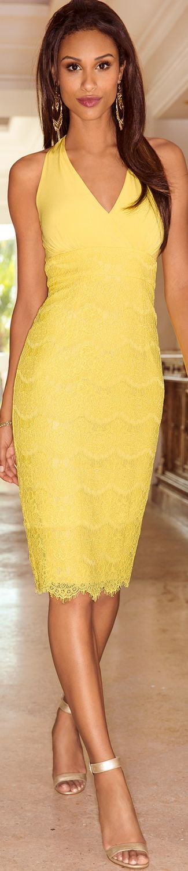 Boston Proper Halter Lace Sheath Dress yellow dress women fashion outfit clothing style apparel @roressclothes closet ideas