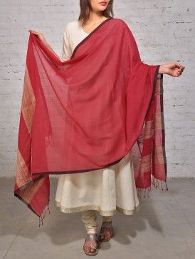 #Red Beige #Cotton #Khadi #Dupatta