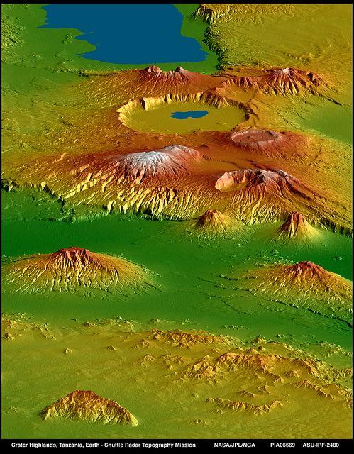 Crater Highlands, East African Rift, Tanzania. NASA