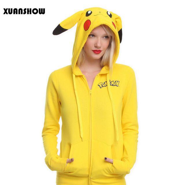 2016 Mujeres de La Manera Chaqueta Sólido Amarillo Pokemon Pikachu Totoro Impresa Traje De Cola con capucha y Cremallera Sudadera Con Capucha Sudaderas Mujer