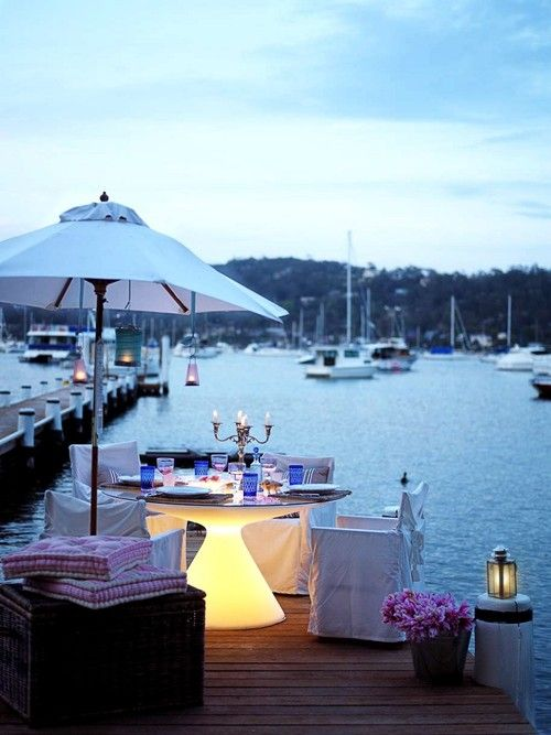 .Lights, Romantic Sets, Dreams, Tables Based, The Bays, Beach, Outdoor Spaces, Summer Dinner, Romantic Dinner
