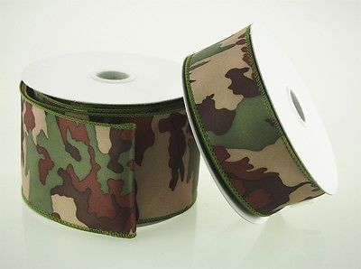 Camouflage Green Army Theme Polyester Ribbon, 10-yard