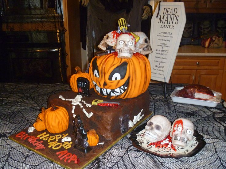 Birthday Halloween cake, based around the  creepy pumpkin cake, made it into a pumpkin patch graveyard. Serena Bartok