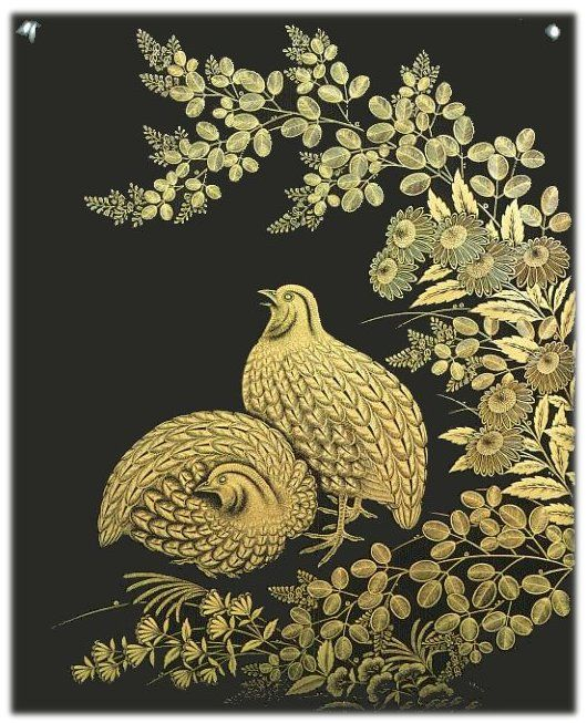 Chinkin (gold-inlaid lacquerware) box by National Living Treasure of Japan, Taiho MAE (1890~1977)