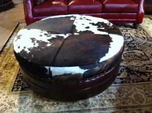 cowhide ottoman