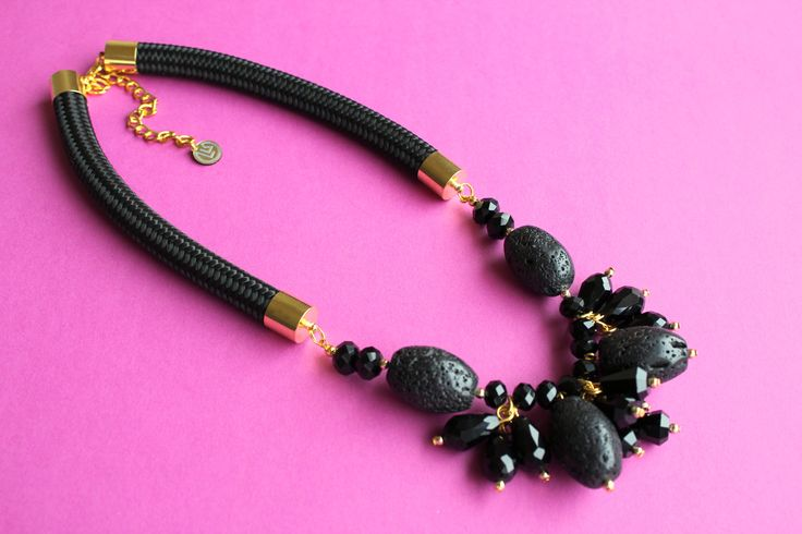 Black statement necklace by Krisztina Lango