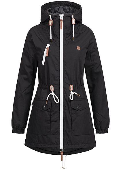 Hailys Damen Übergangs Parka Kapuze 2 Taschen Tunnelzug schwarz Hailys Jacken | 77onlineshop im Online Shop preiswert kaufen