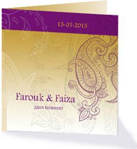 Farouk en Faiza gaan trouwen! Deze trouwkaart is met zijn kleuren en vormen de ideale kaart om je vrienden en familie uit te nodigen voor jullie bruiloft.