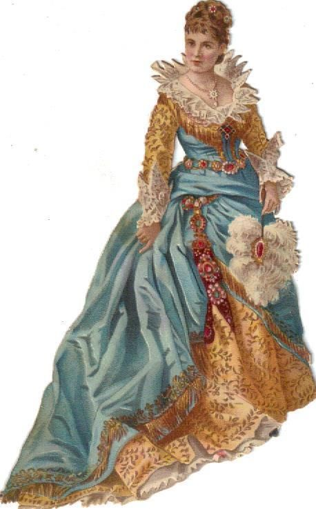 Victorian Die Cut Scrap Fashionable Lady in Blue & Gold c1880