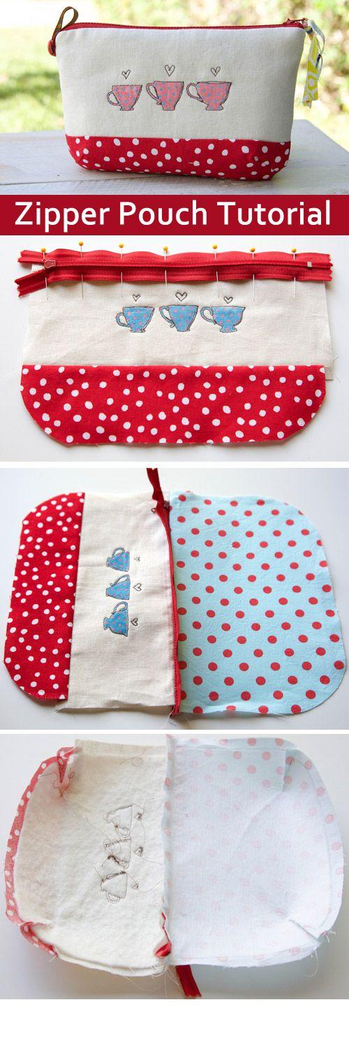 How to make a zippered Pouch. DIY Photo Tutorial.  http://www.handmadiya.com/2015/10/zipper-pouch-tutorial.html