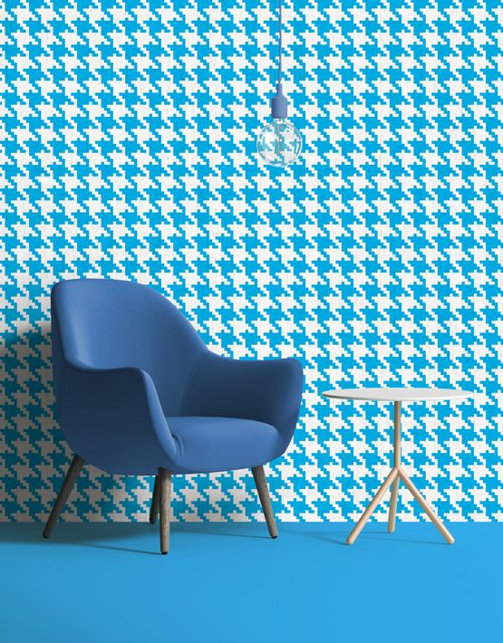 Pop Pied de poule #wallpaper in cyan. Buy on www.mrmanu.com