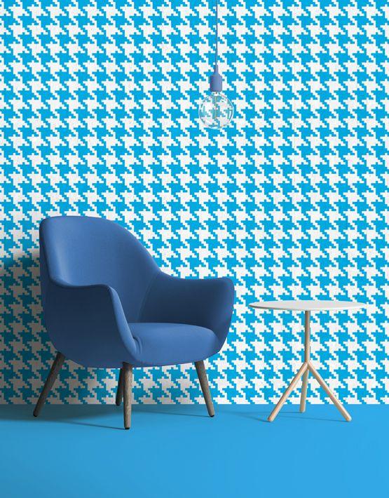 Pop Pied de poule #wallpaper in cyan. Buy on www.mrmanu.com