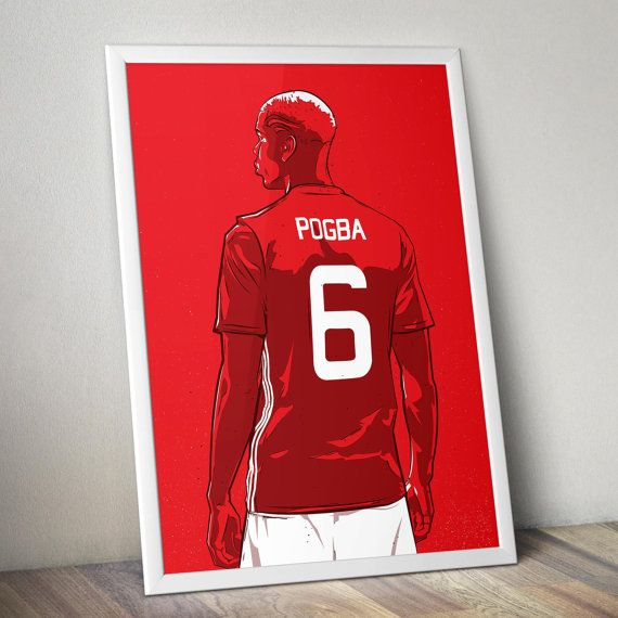 Illustration of the Manchester United midfielder Paul Pogba. *Paper Quality* Printed on a high quality 190gsm paper. *Size* The paper size is A3 (11.7 x 16.5) with a 1cm white border for framing purposes. (frame not included)  *Mailing* Please note there are 2 shipping options available during payment.  1 - Standard international Post 2 - Registered Post (Tracking number included)  Thanks for looking