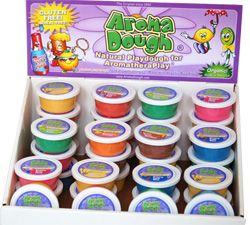 product review of 4 different brands of GF play dough: Aroma Dough, Blue Dominoes, Colorations and Soy-Yer Dough.