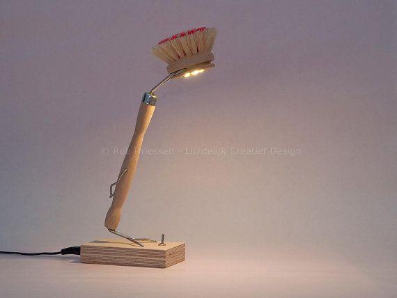 funny led lamp #lightobject #handmade #ledlight #madeinholland #gadget #desklamp #redesign #afwasborstel