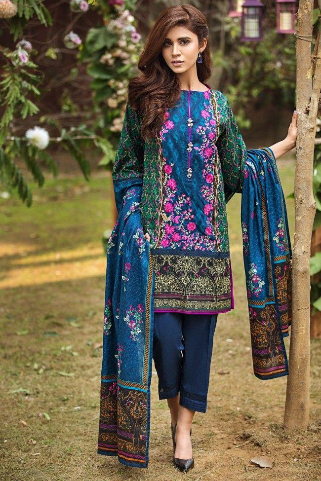 Alkaram Embroidered Blue Unstitched Lawn 3Pcs Suit