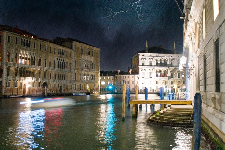 night thunderstorm on the Grand Canal - Night on the Grand Canal in Venice, strikes a severe thunderstorm with lightning and rain.