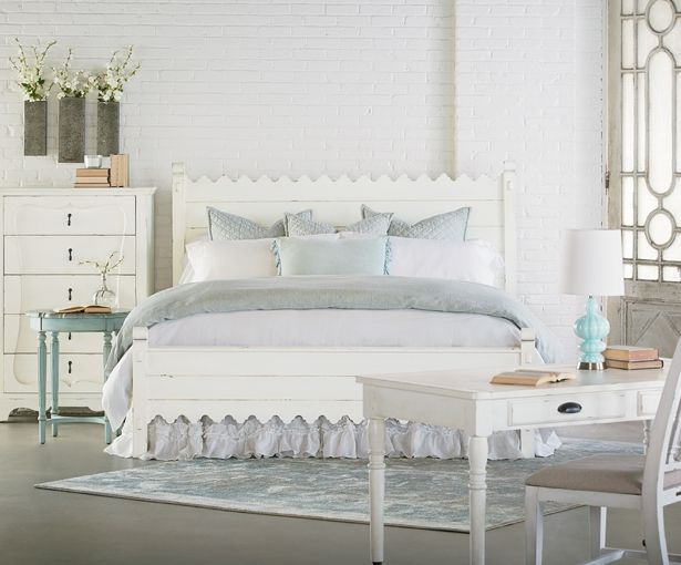 Magnolia Home By Joanna Gaines Farmhouse Scalloped Bed  White with footboard and rails and panels of wood like shiplap - Purple Rose Home