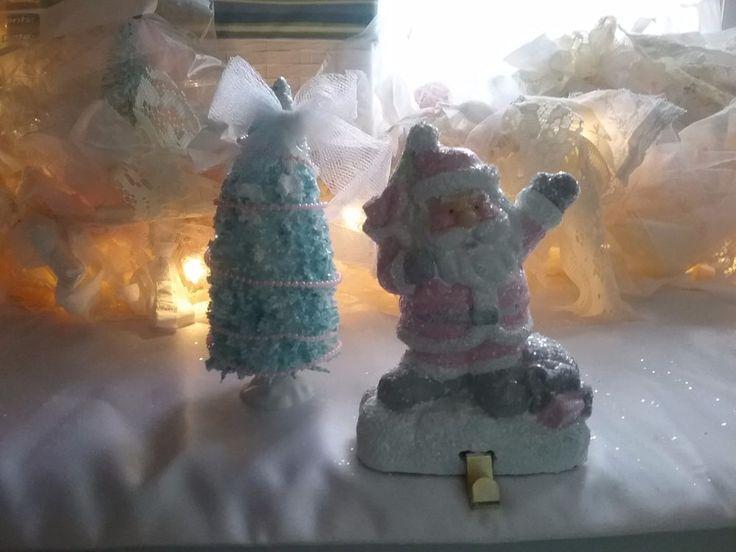 SHABBY PINK  CHRISTMAS STOCKING holder santa tree chic mantle decor romantic
