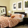 All in the Accents: Mirror, Orange Bedspreads, Casual Bedrooms, Real Lif Bedrooms, Wicker Beds, Master Bedrooms, Bedrooms Idea, Bedroom Ideas, Decorating Furniture Hom Idea