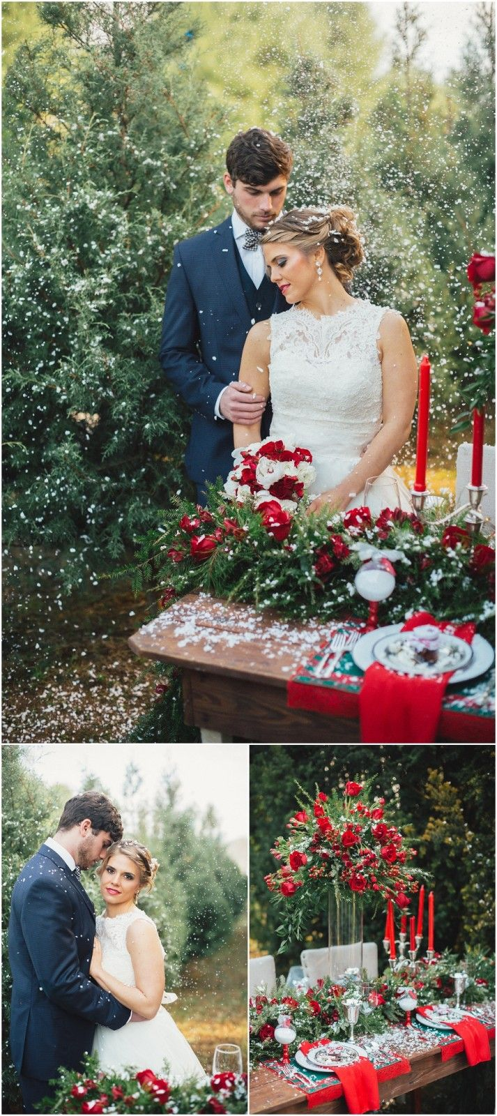 Snow wedding ideas and inspiration at a Christmas Tree Farm. Click to view more!
