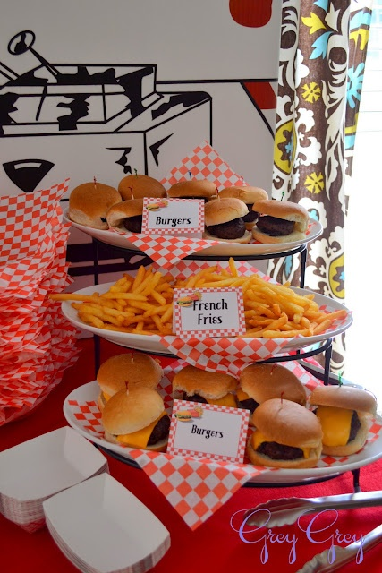 Hamburger Themed 3rd Birthday Party food