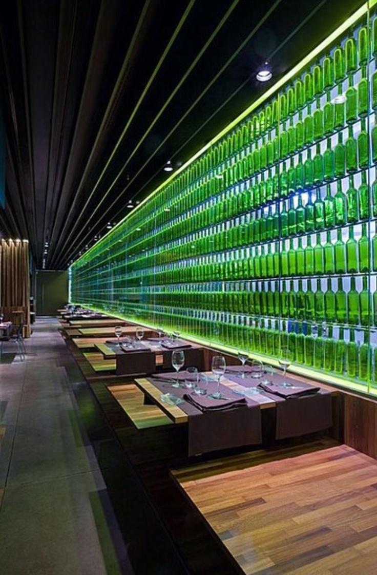 Elmerca s restaurant pamplona green glass bottle wall