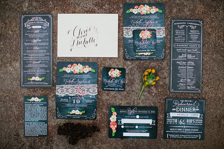 Raffaldini Winery Wedding // Nichelle + Chris Satterfield | Blest Photography   Chalkboard inspired invitations by Katie Carroll Designs
