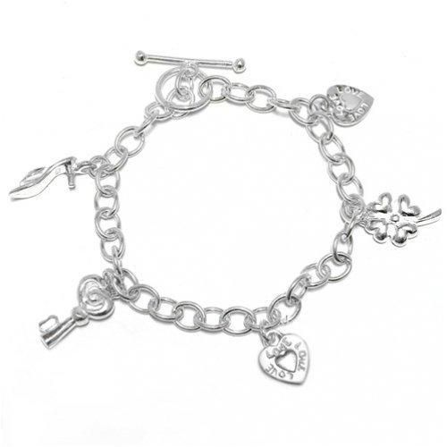 Bling Jewelry 925 Sterling Silver Five Dangling Charm Bracelet Toggle Clasp 7in