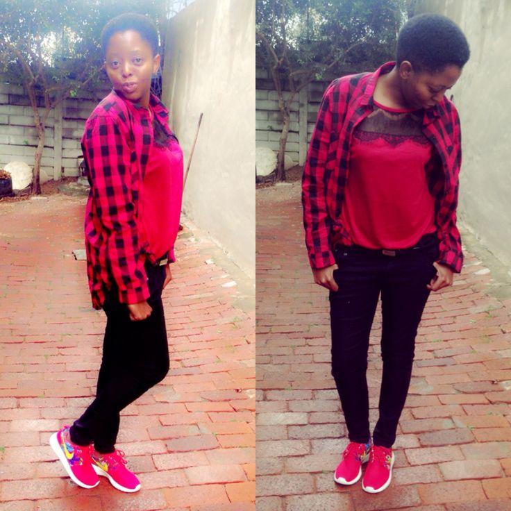 Nike roshe...checked shirt...blk jeans...