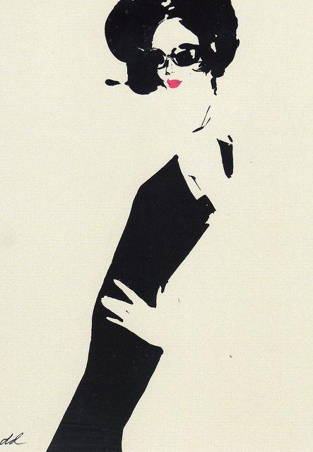 Back to Black by David Downton fashion illustrator