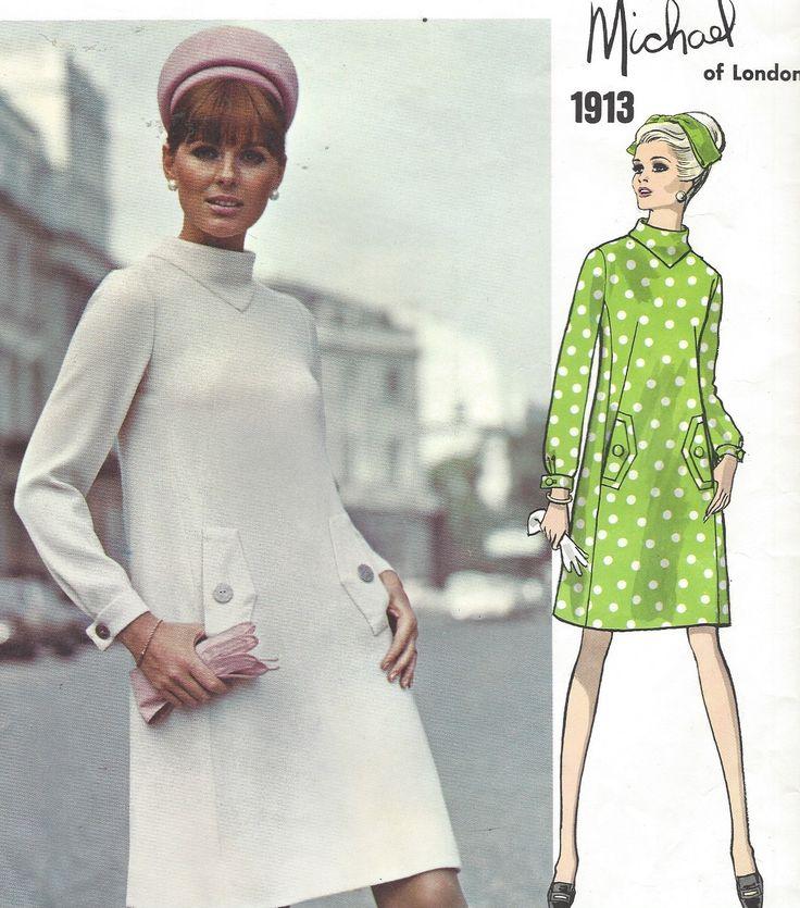 1960s Michael of London Womens Mod A Line Dress Back