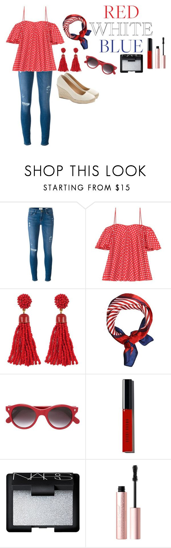 """""""Red white and blue"""" by tcolasante on Polyvore featuring Frame, Anna October, Cutler and Gross, Bobbi Brown Cosmetics, NARS Cosmetics, Too Faced Cosmetics and J.Crew"""