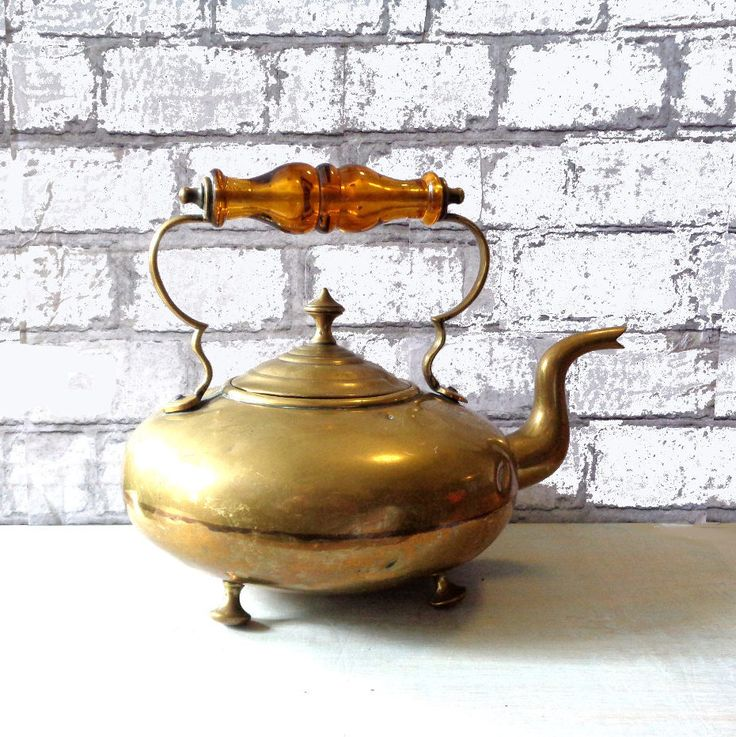 Antique Victorian Brass Kettle tea pot Scottish Irish Whiskey Whiskey Toddy Goose neck Bun Feet Amber handle Cottage style fireside ornament by IrishBarnVintage on Etsy