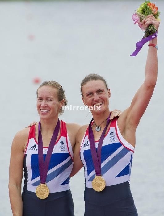 Team GB rowers Helen Glover and Heather Stanning celebrate after winning the Gold medal in the Women's pair at Eton Dorney during the 2012 London Olympic Games.