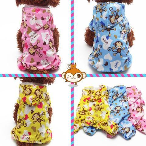Cute Pet Dog Waterproof Hoody Raincoat Lovely Monkey Jackets Coat Clothes